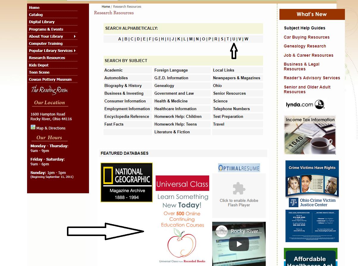 Universal on webpage