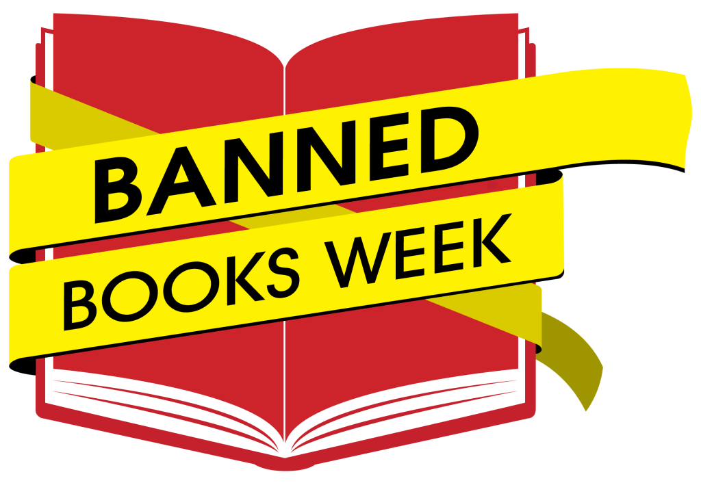 """The logo for banned books week: a yellow banner with black text that reads """"Banned Books Week"""" over an icon of a red book."""
